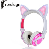 Funelego החדש חתול אוזן אוזניות עם מהבהב זוהר LED אור אוזניות למחשב טלפון סלולרי מחשב נייד משחקי אוזניות