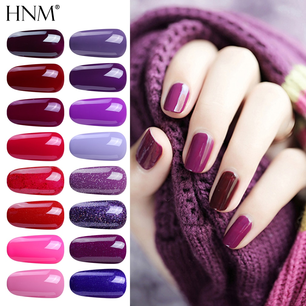 HNM 8ml Gel Nail Polish Purple Colors Soak Off UV LED Nail Gel Varnish Semi Permanent For Nail Art Hybrid Gellak Base Top Coat