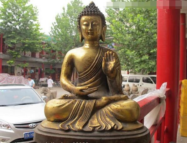 Fábrica al por mayor de Tíbet Budismo Fane Bronce Gild Tathagata Sakyamuni Buddha Amitabha estatua