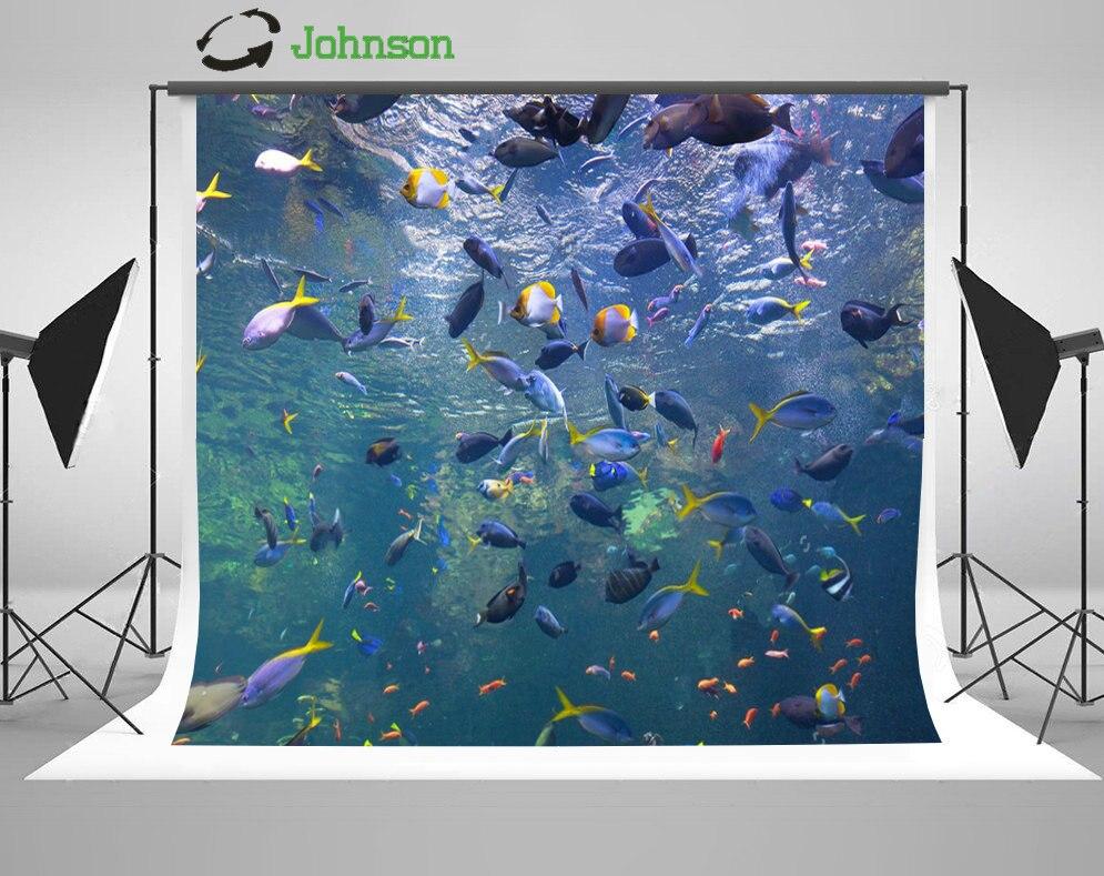 Colorful Fish Aquarium Tank backdrop polyester or Vinyl cloth High quality Computer print wall  photo studio background