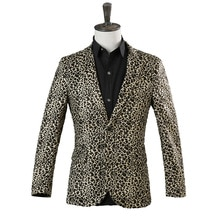 Leopard Print Men's Coat Stage Costume Suit Blazers Single Breasted Casual Suits Regular Men Blazer