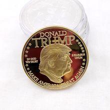 Moneda de oro estadounidense 45 ° presidente Donald Trump moneda Casa Blanca de EUA Estatua de la libertad colección de monedas de Metal plateado Mar21