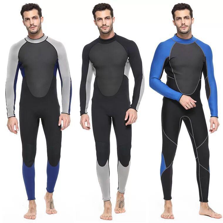 Mens Wetsuit Men Full Suit, Long Sleeve Mens Wetsuit for Scuba Diving Surf Snorkeling, 3mm Neoprene Wet Suit Black Blue