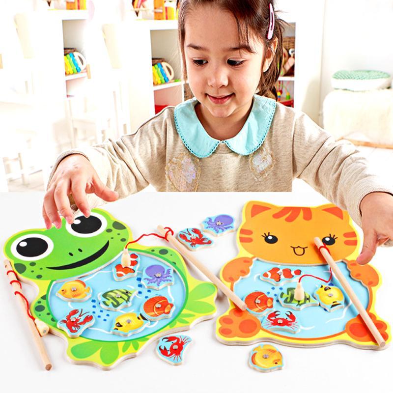 Tablero de juego de pesca magnético de madera con 2 caña de pescar puzle rompecabezas de juguete para niños Animal pesca del gato Rana juguete educativo
