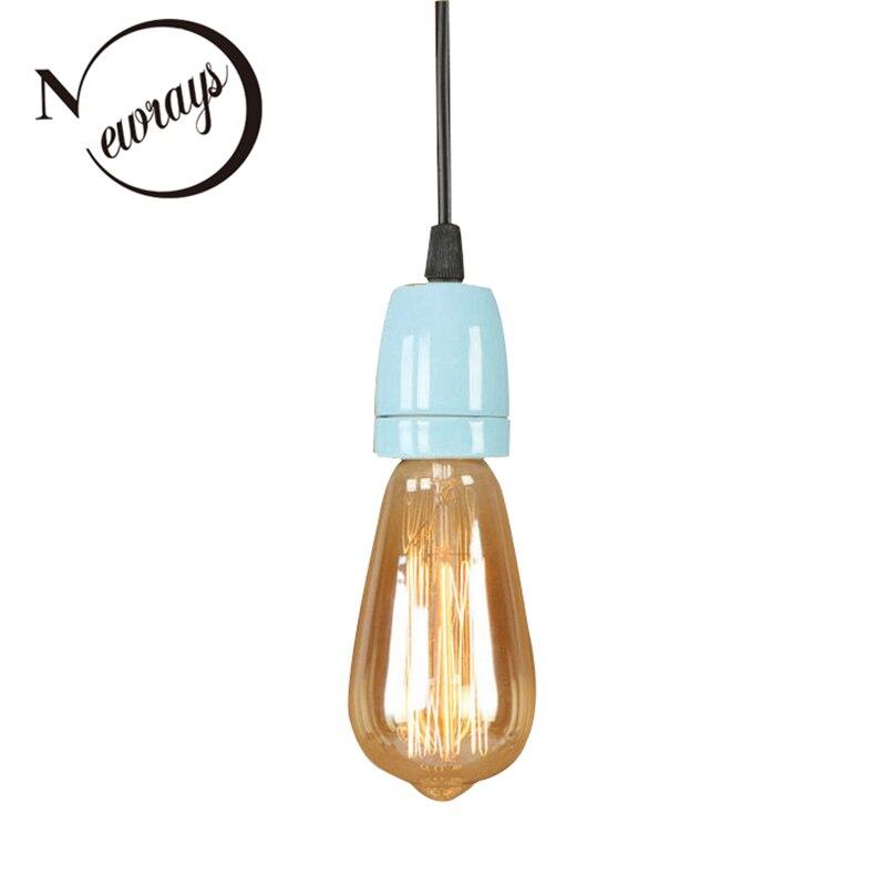 Modern loft art deco ceramic pendant light LED E27 simple hanging lamp with 8 colors for living room kitchen restaurant bedroom