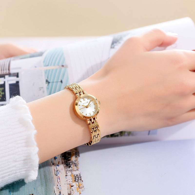 Mini Classic Golden Watch Stainless Steel Bracelet Women's Watch Japan Quartz Small Hours Fine Dress Lady Clock Girl's Gift