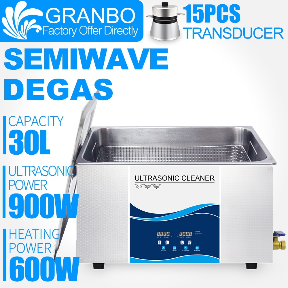 Granbo 30L 900W 110V 220V Ultrasonic Cleaner Industrial With DEGAS SEMIWAVE Heating For Injector Engine Auto Parts Medical Lab industrial 88l ultrasonic cleaner generator engine oil auto car parts motherboard hardware washer heated bath equipment