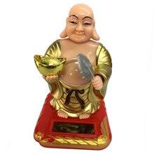 Feng Shui, decoración alimentada por energía Solar, ventilador de ondas, Buda de la fortuna feliz riéndose-2.36x2.76x3.94inch