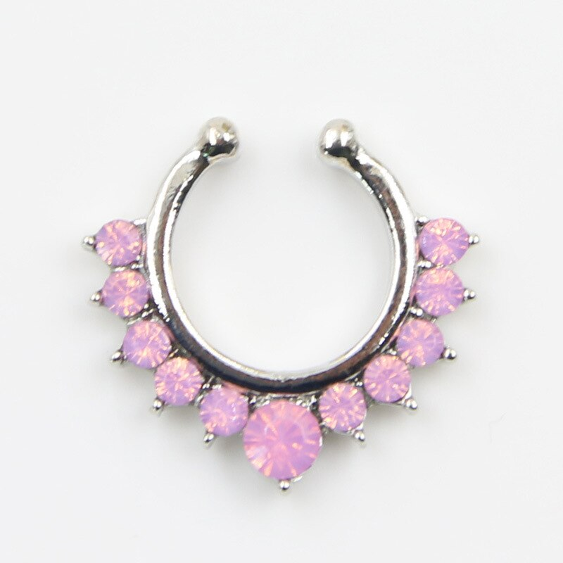fake septum crystal clicker Fake nose Ring Piercing faux Body jewelry Hoop For Women Septum Clip non  - buy with discount