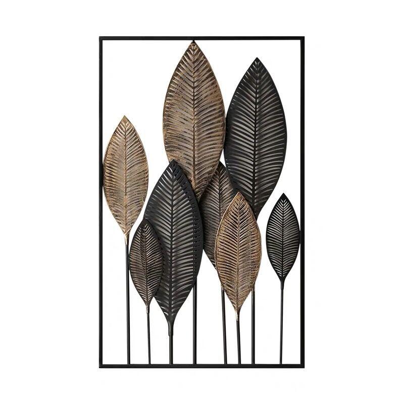Decoración nórdica hogar lron hoja decoración de pared creativo moderno simple metal colgante modelado efecto punzón instalación gratuita