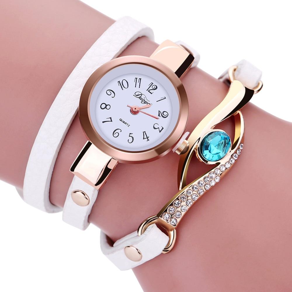 2019 New Fashion Casual Bracelet Watch Women Relogio Leather Band Rhinestone Analog Quartz Watch Fem