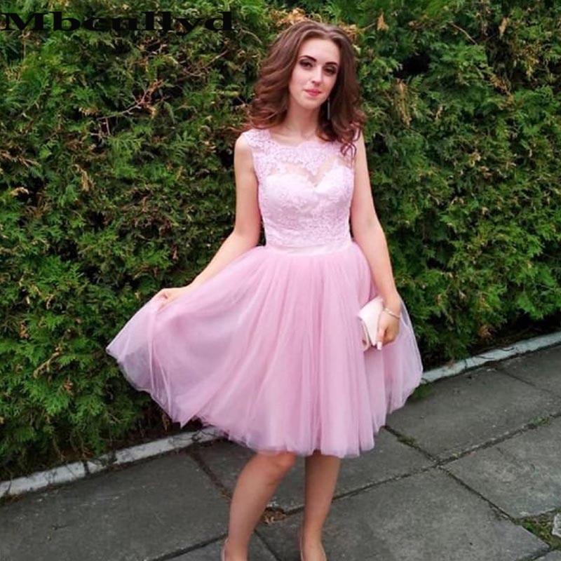 Mbcullyd-فستان حفلة وردي مع زينة من الدانتيل والتول ، مقاس كبير ، فستان كوكتيل