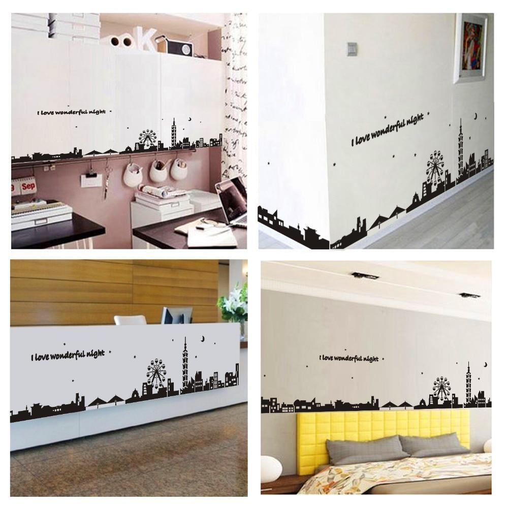 Gran silueta de ciudad negra sólida, vinilo extraíble, pegatinas DIY, decoración del hogar, arte para la sala de estar, dormitorio, pegatinas de pared de PVC, Mural