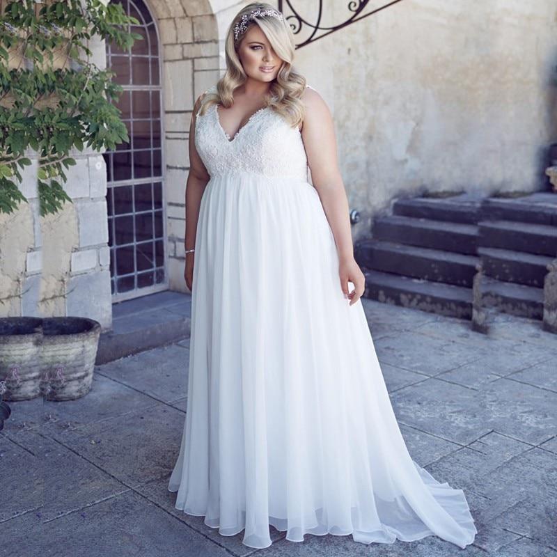 ADLN كلاسيكي الخامس الرقبة بلا أكمام حجم كبير فستان الزفاف أنيقة زين رداء دي ماريج Vestidos دي نوفيا الشيفون فستان زفاف
