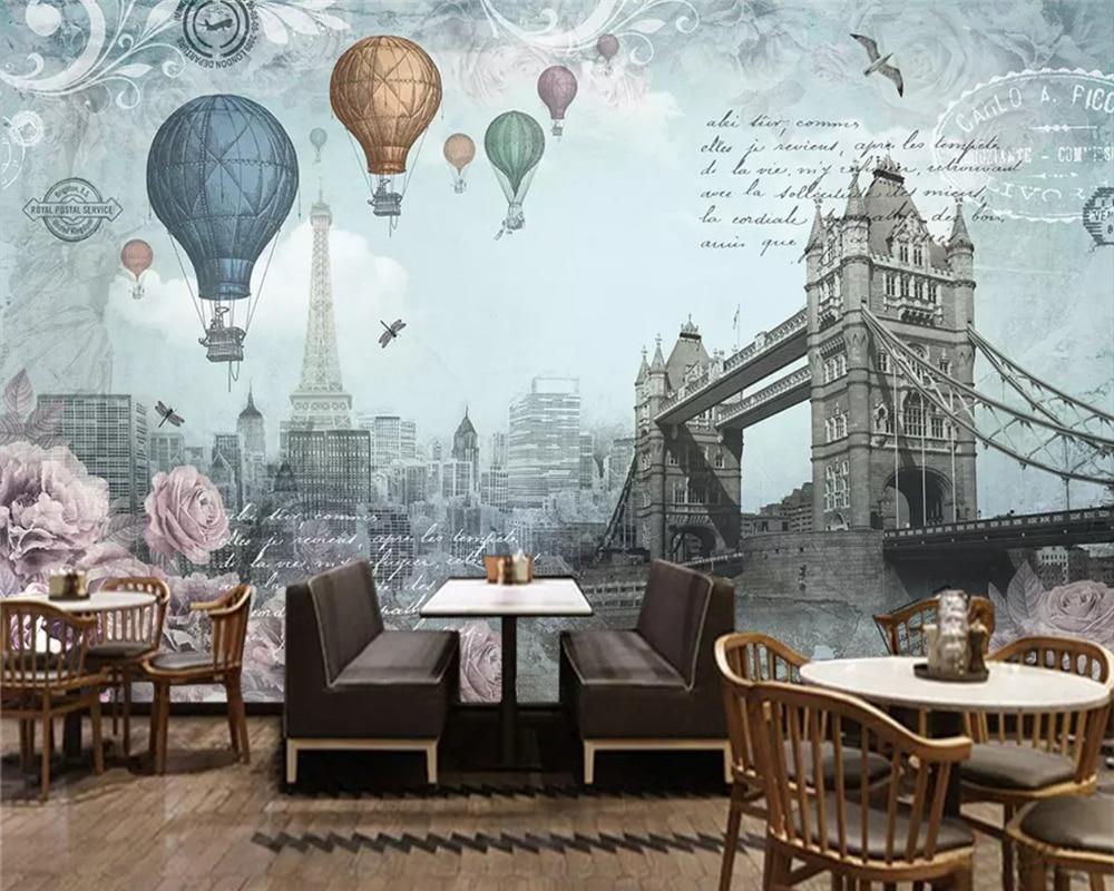 Beibehang moda moderna alta pintura decorativa papel de parede retro vento britânico balão ar quente fundo papéis decoração da sua casa