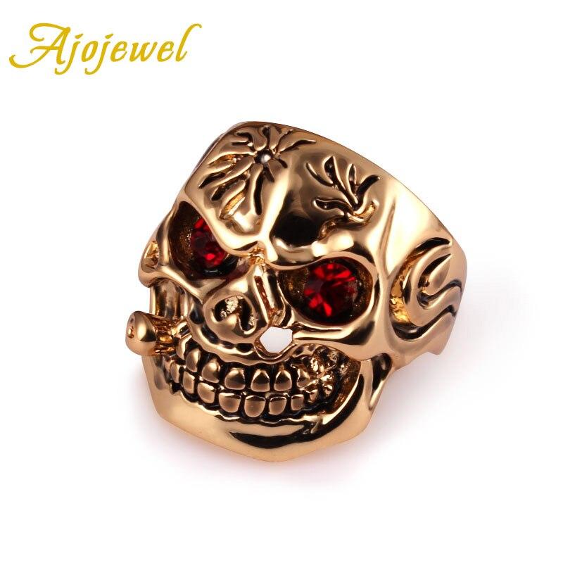 Ajojewel tamaño 8-10 de oro de color cráneo para hombre anillos con...