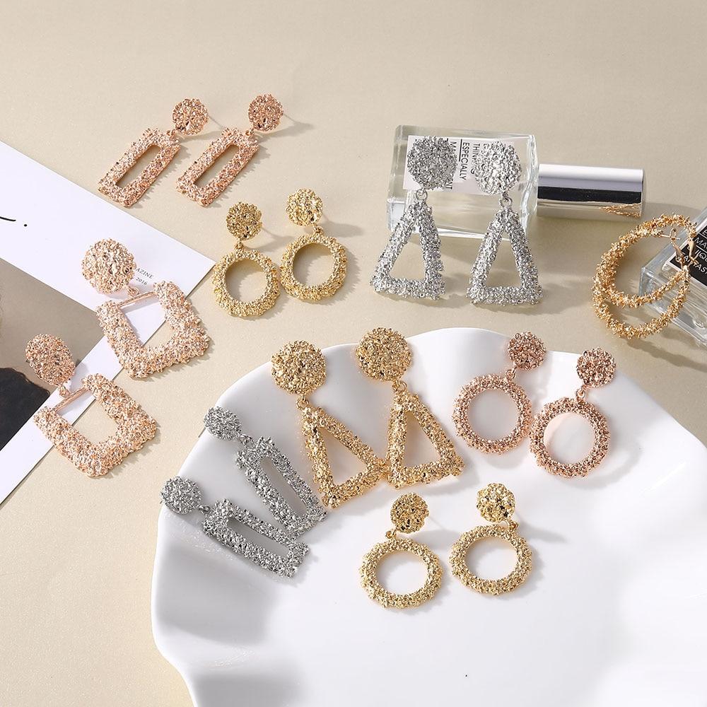 IPARAM Fashion Luxury Metal Geometry Large Earrings Women Europe and America Retro Heart Circle Drop Earrings Bohemian Jewelry