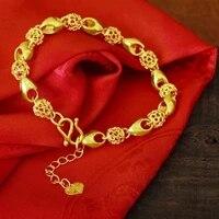 hollow beads bracelet yellow gold filled womens mens bracelet chain