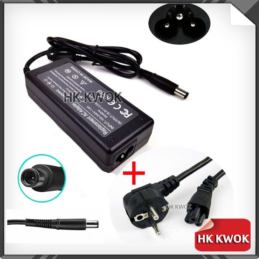 EU Power Cord + 18,5 V 3.5A cargador/adaptador de CA para hp G60 G61 G70 DV5 DV6 DV7 DV4 ProBook 4310s 4410s 4415s 4416s 4510s 4515s