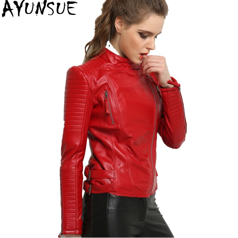 Ayunsu 100% معطف جلد الغنم الحقيقي الإناث سترة جلدية حقيقية قصيرة ضئيلة جاكيتات للنساء ملابس خارجية jaqueta de couro WYQ793