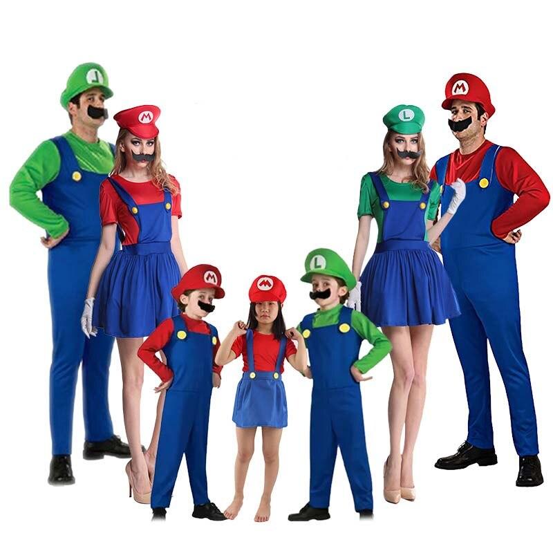 Super mario cosplay adultos e crianças bros cosplay traje de dança conjunto crianças festa de halloween mario & luigi traje para crianças presentes