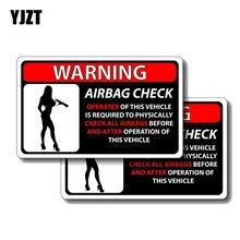 Yjzt 2X 13 Cm * 7.6 Cm Waarschuwing Controleren Alle Airbag Voor En Na Auto Sticker Pvc Decal 12-0384