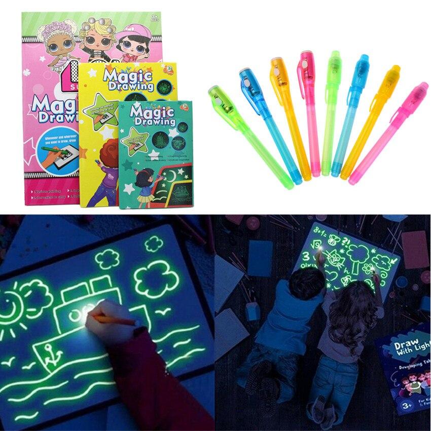 1PC A4 A5 tablero de dibujo luminoso LED Graffiti Doodle dibujo Tablet Magic Draw con luz-divertida pluma fluorescente juguete educativo