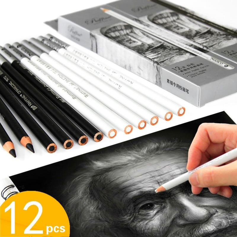 12 Uds. De lápiz de carbón blanco Para Dibujo Profesional, Para Dibujar,...