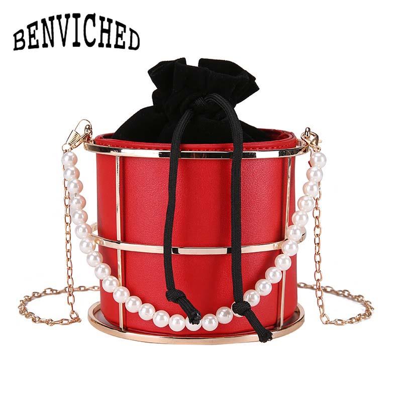 BENVICHED moda personalidad perla Cage mujeres bolso chicas Top-Handle bolsas monedero moda fiesta bolsa borla embrague a013