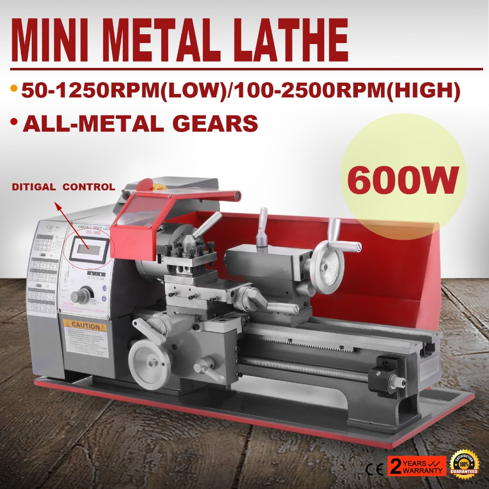 600W Mini tour à métaux tour à bois broche moteur à courant continu banc tour