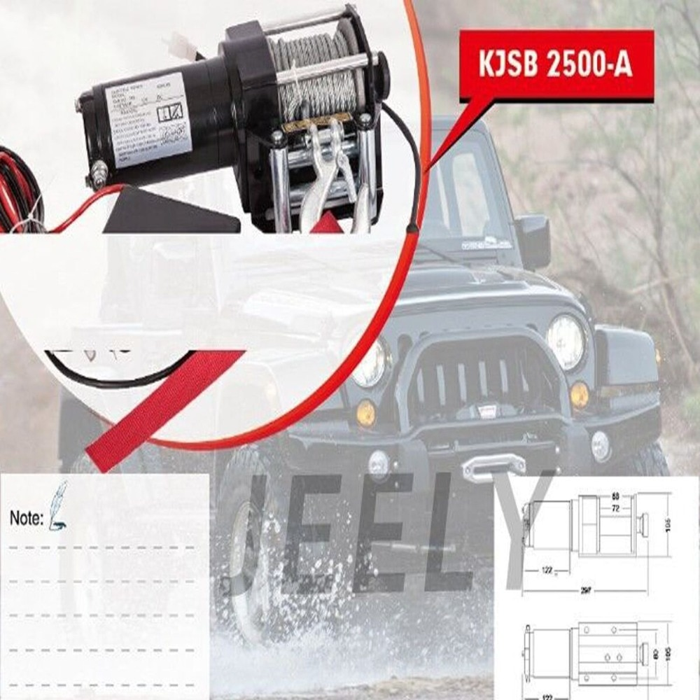 Cabrestante eléctrico JEELY DC 12V 2500LB ATV/UTV/4X4/4WD, cabrestante de coche