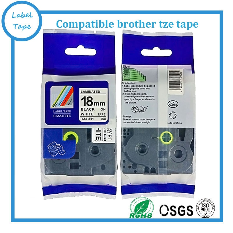 Preto no branco 18mm fitas rótulo tze fita da impressora para brother impressora de etiquetas tz241 tze241 tz-241 tze-241