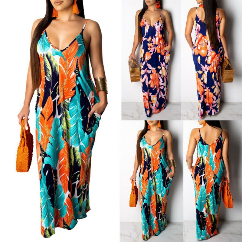 2019 Brand New Style Fashion Women's Maxi Boho Dress Floral Summer Beach Cocktail Party Hot Sale Long Sundress