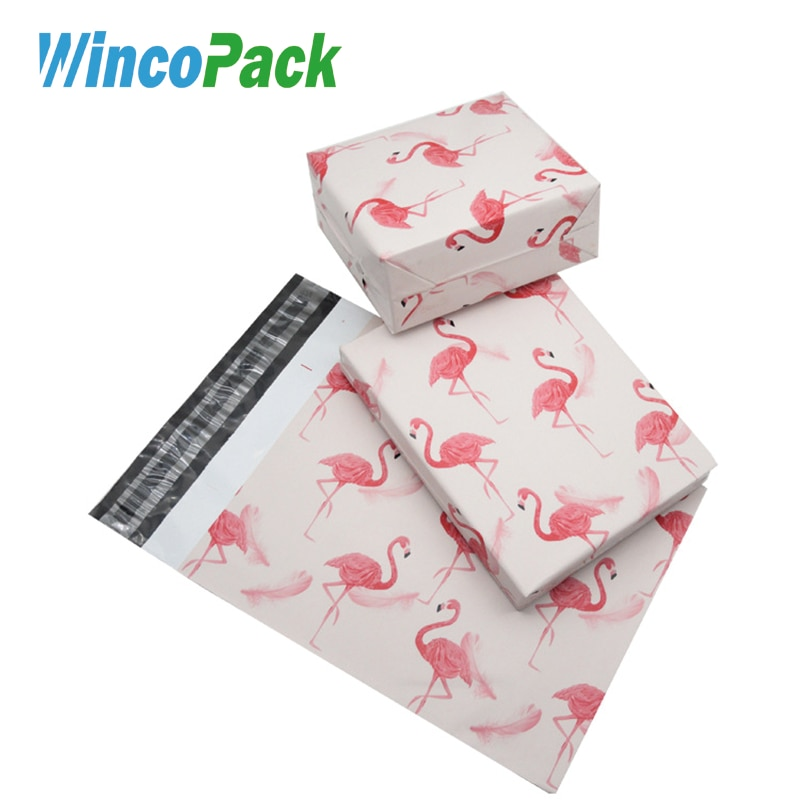 """Bolsa de embalaje de correo de plástico con flamencos de 10x14,5 """"50 Uds."""
