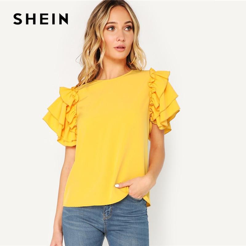 SHEIN Glamorous capa manga abotonada Keyhole Back túnica Plain Top blusa mujer 2019 primavera elegante cuello redondo Top blusas