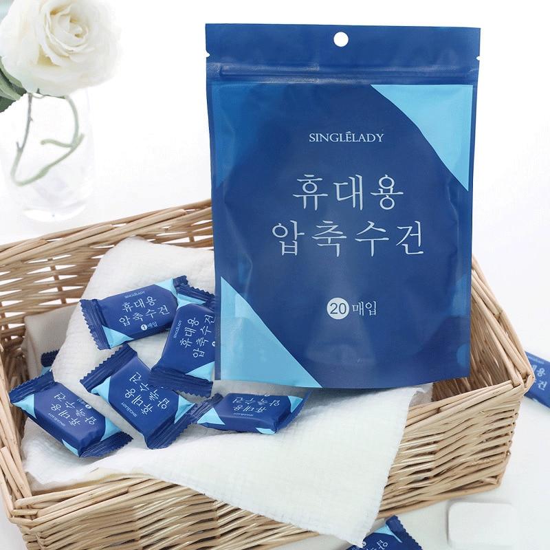 20pcs/set Outdoor Travel Disposable Magic Compressed Cotton Towel Tablet Cloth