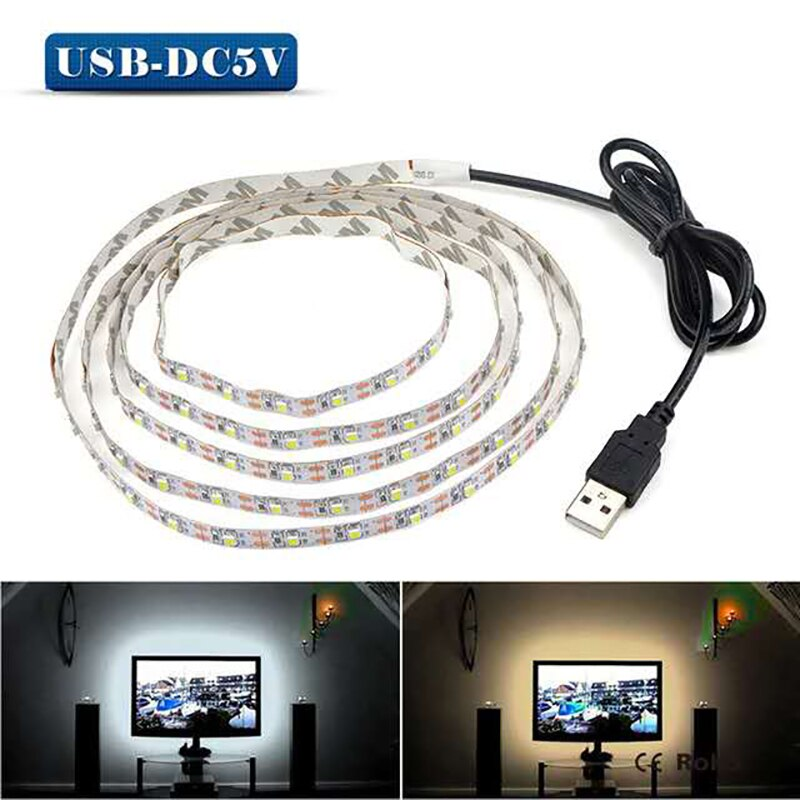 DC 5V 50CM 1M 2M 3M Cable USB alimentación LED tira de luz SMD 2835 decoración de escritorio de Navidad cinta de lámpara para iluminación de fondo de TV