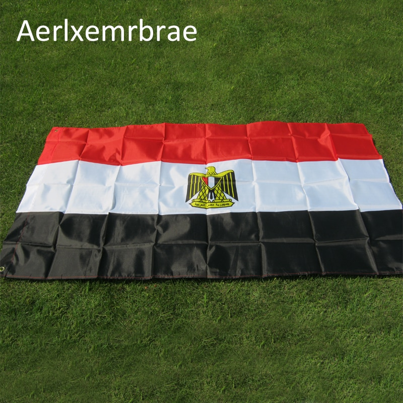 Freies verschiffen aerxemrbrae flag150x90cm Ägypten flagge Hohe Qualität Doppelseitig Gedruckt Polyester Ägypten Flagge