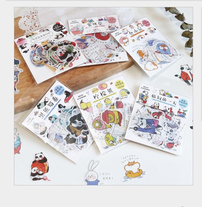 40 unids/bolsa bonita panda hámster conejo melocotón oso negro gato decoración pegatina DIY planificador álbum de recortes diario etiqueta pegatinas