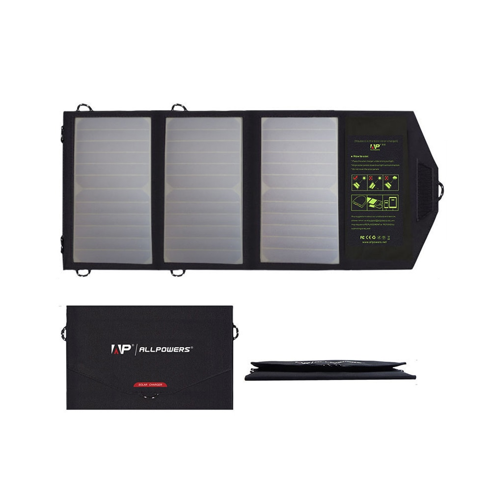 ALLPOWERS Portable Solar Panel Charger 5V 21W Foldable Waterproof USB Mobile Power Bank Solar Cells for iPhone iPad Xiaomi