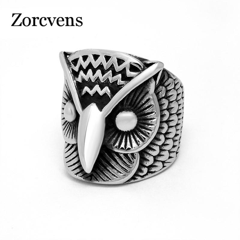 Мужское кольцо из нержавеющей стали сова ZORCVENS, панк-рок, Крутое серебряное Ретро украшение в подарок