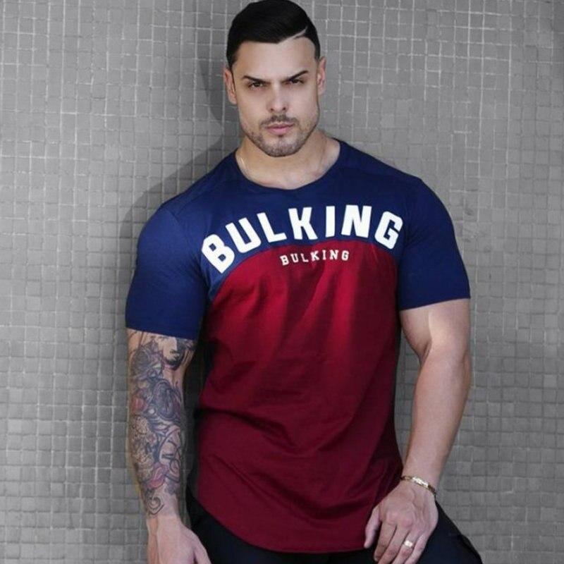 Camiseta de algodón con diseño de telas combinadas para hombre, nueva camiseta de entrenamiento para culturismo y Fitness, camisetas casuales de verano a la moda para hombre, camisetas de marca