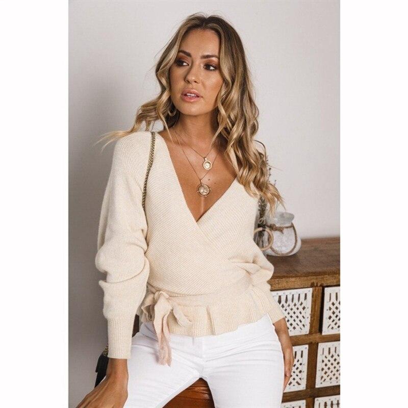 Mujeres 2019 V cuello espalda descubierta suéter Sexy ajustado vendaje Bow Tie...