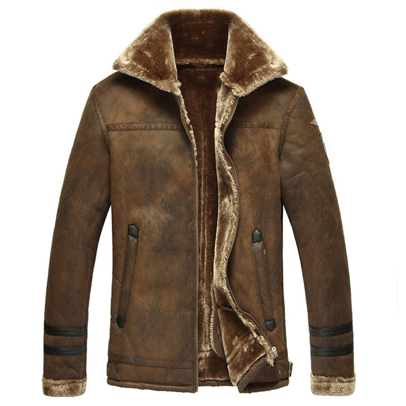 In Stock Thick Warm Winter Mens Faux Fur Leather Jacket Overcoats 2017 Plus Size England Style Vintage Mens Winter Coats C1224