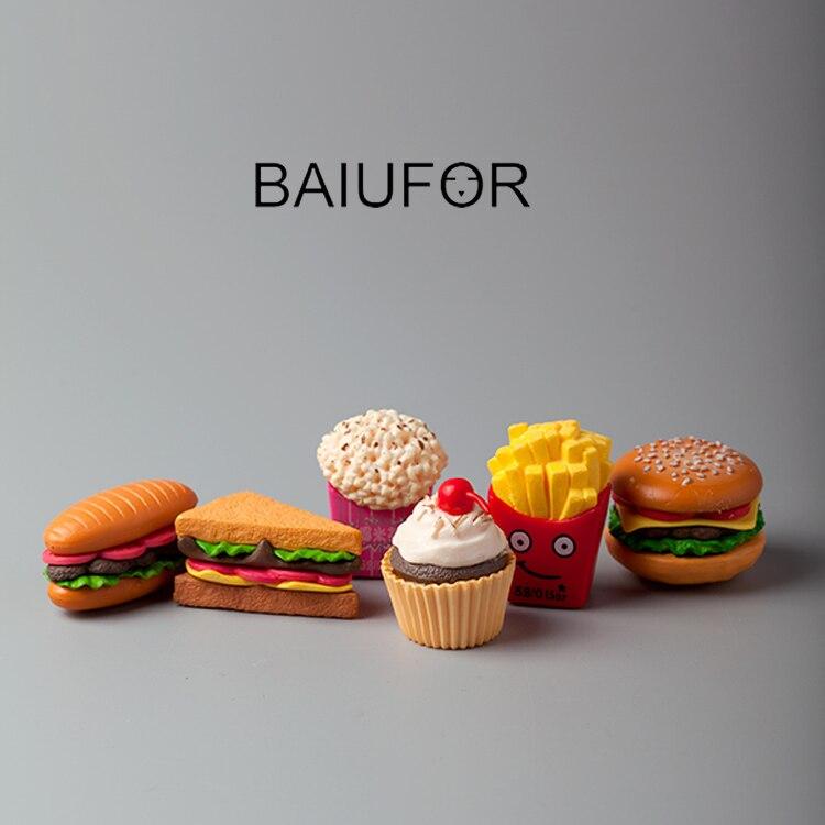 BAIUFOR Simulation Food Miniatures Hamburger Ice Cream Cake DIY Doll House Decor Terrarium Figurines Mini Garden Miniature