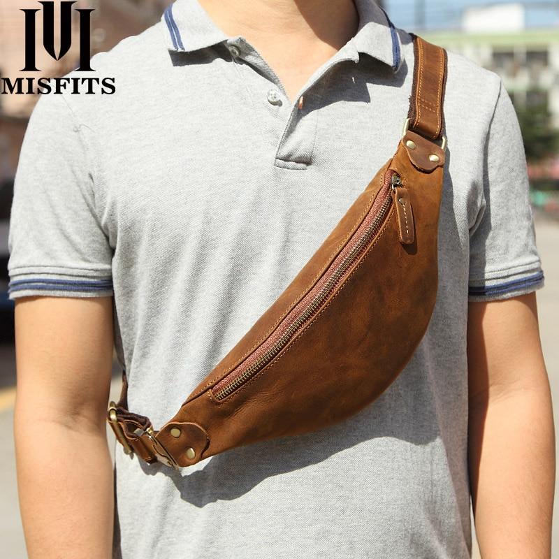 MISFITS Genuine Crazy Horse Leather Waist Packs For Men Travel Fanny Pack 120cm Belt Length Male Sma