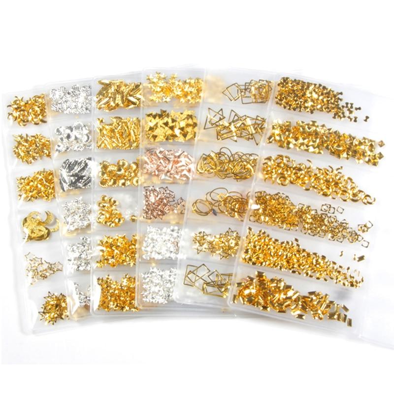 1 paquete de 6 estilos DIY de tachuelas marco de Metal uña encanto decoraciones oro remache manicura accesorios uñas Consejos decoraciones copos