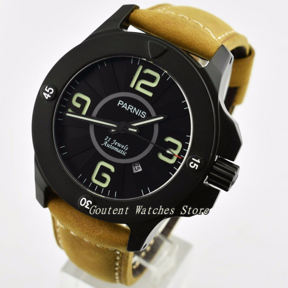 Reloj mecánico automático de cuero MIYOTA desployment para hombre de zafiro Parnis de 47mm