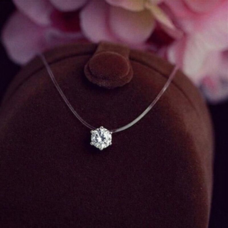 Collar cuadrado de 6 garras de cristal de piedra CZ circón de moda, collar de cadena de hilo de pesca transparente Invisible para mujeres