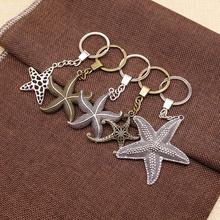 LLavero de estrella de mar, colgante DIY hecho a mano, regalos, llavero con abalorios